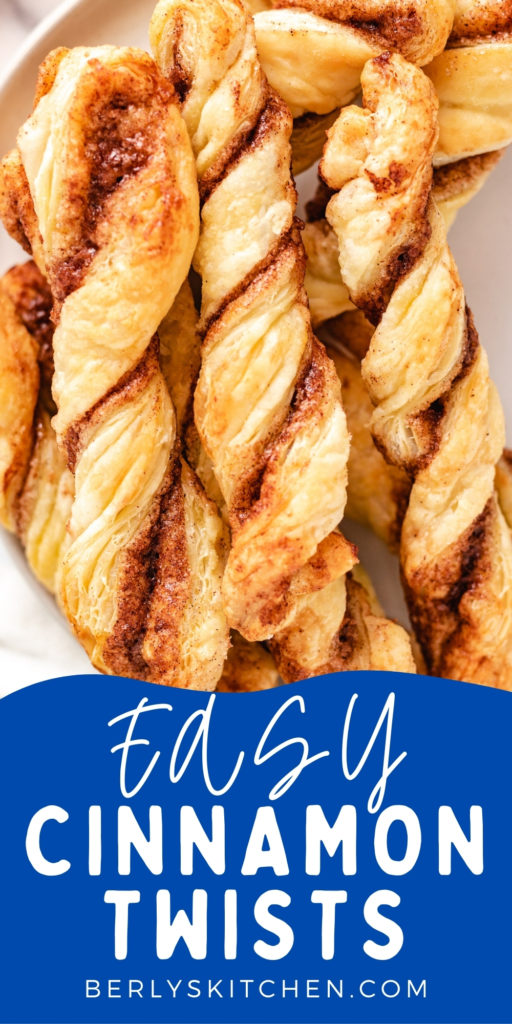 Close up of cinnamon puff pastry on a plate.