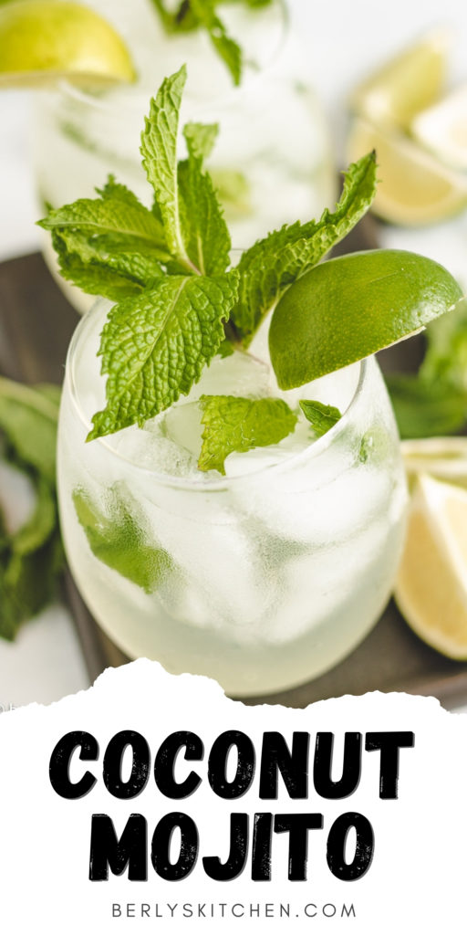 Glass of coconut mojito with fresh lime.