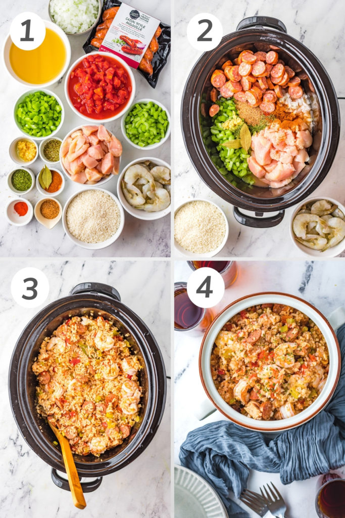 Collage showing how to make slow cooker jambalaya.