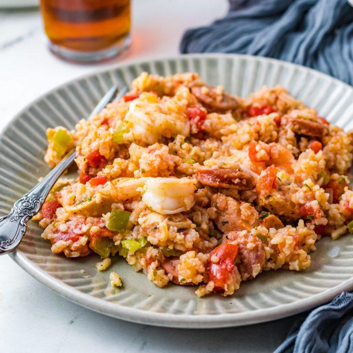 Plate of jambalaya with shrimp.