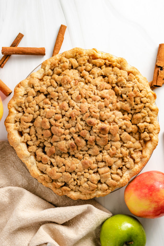 Top down view of dutch apple pie.