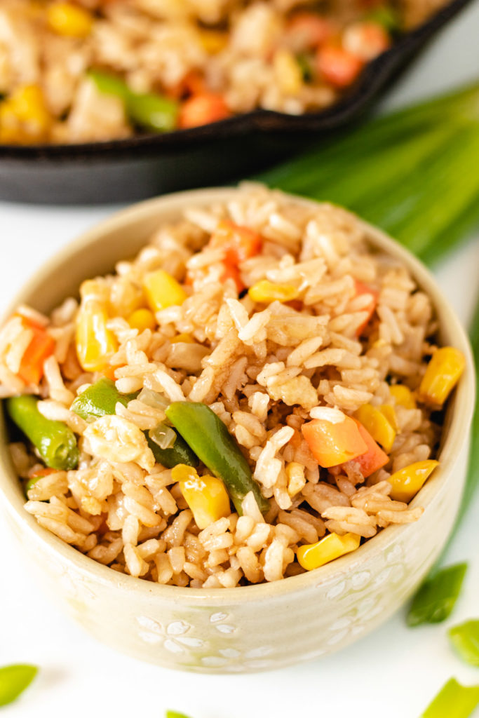 Bowl of vegetable fried rice with green onions.