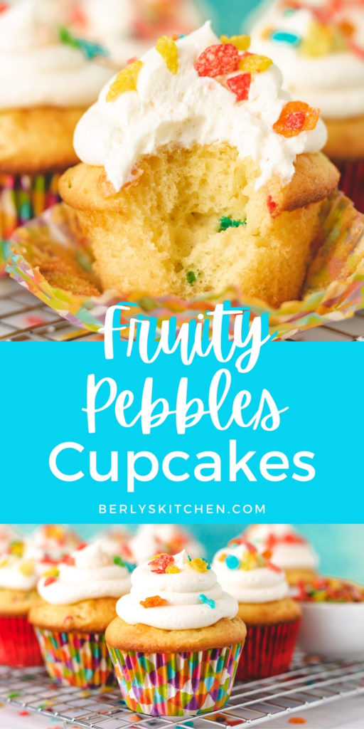 Collage showing 2 photos of fruity pebbles cupcakes.