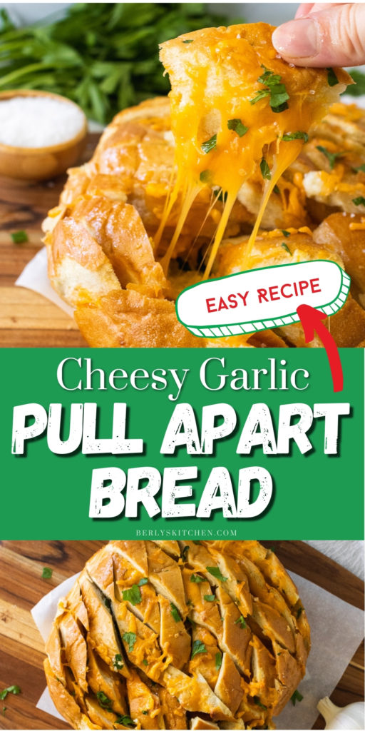 Collage showing two photos of garlic pull apart bread.