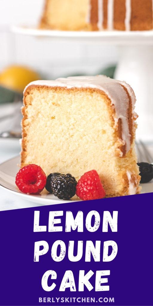 Slice of lemon pound cake on a white dish.