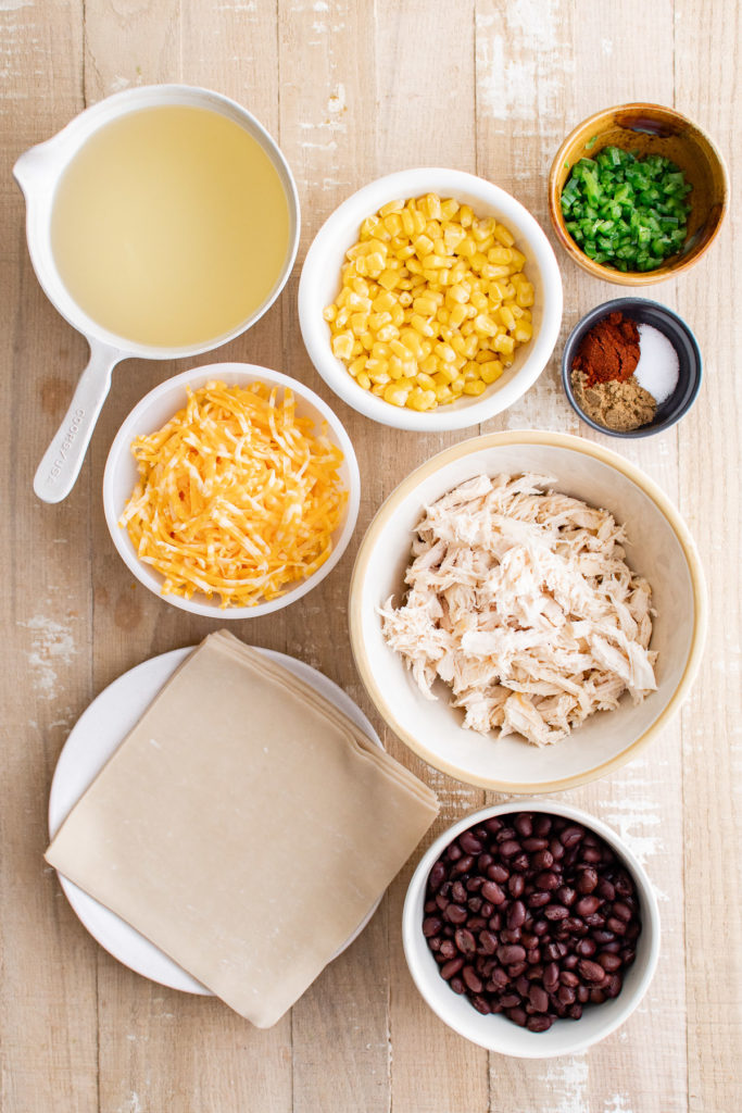 Ingredients needed to make southwest egg rolls.