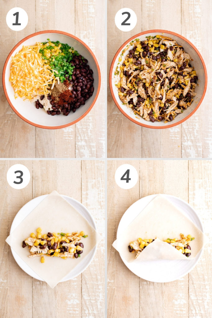 Collage showing how to make the filling for a southwest egg roll.