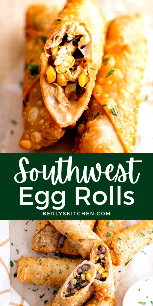 Collage of two photos showing sliced southwest egg rolls.