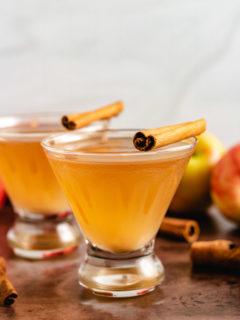Fall martini in stemless glasses.