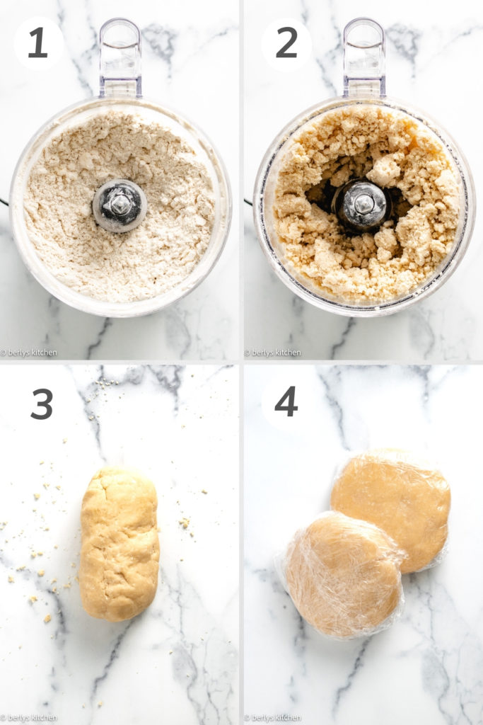 Collage showing how to make butter pie crust.