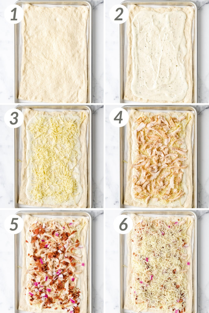 Collage showing how to make chicken bacon ranch pizza.
