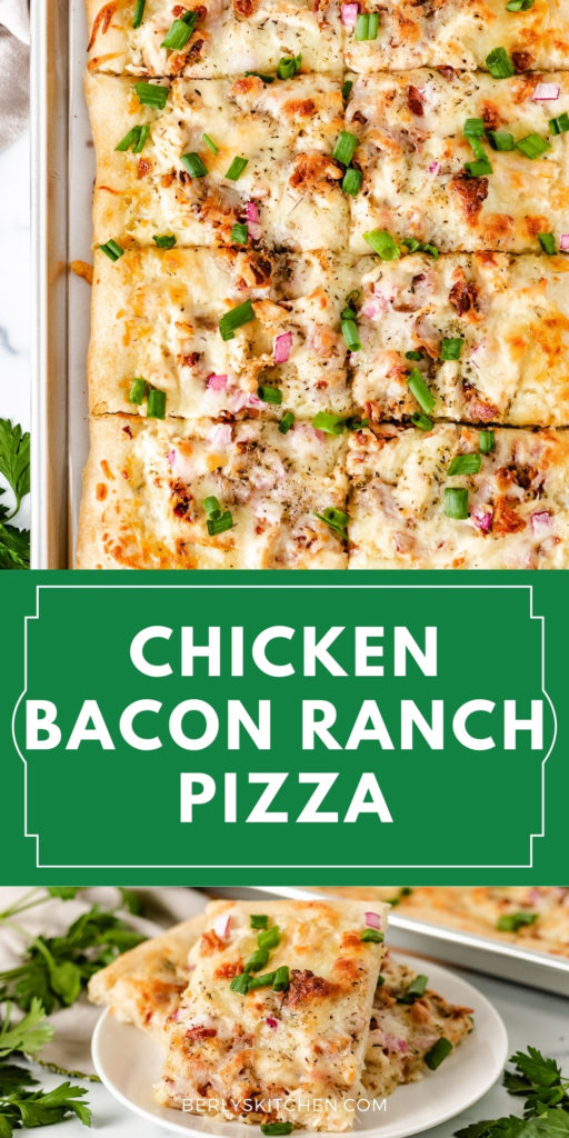 Top down view of a rectangle chicken bacon ranch pizza.