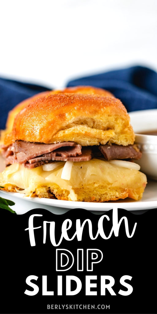 French dip slider on a white plate.