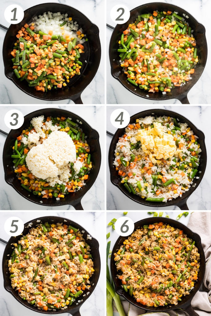 Collage showing how to make homemade fried rice.