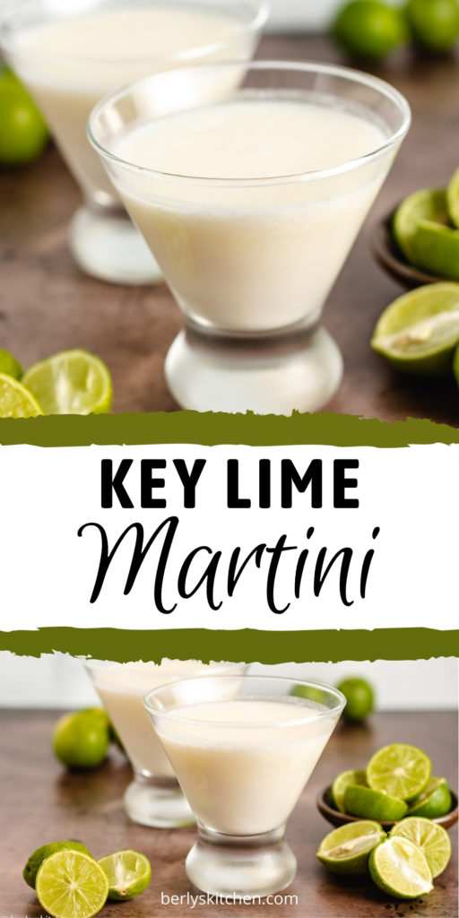 Collage showing 2 photos of a key lime martini.