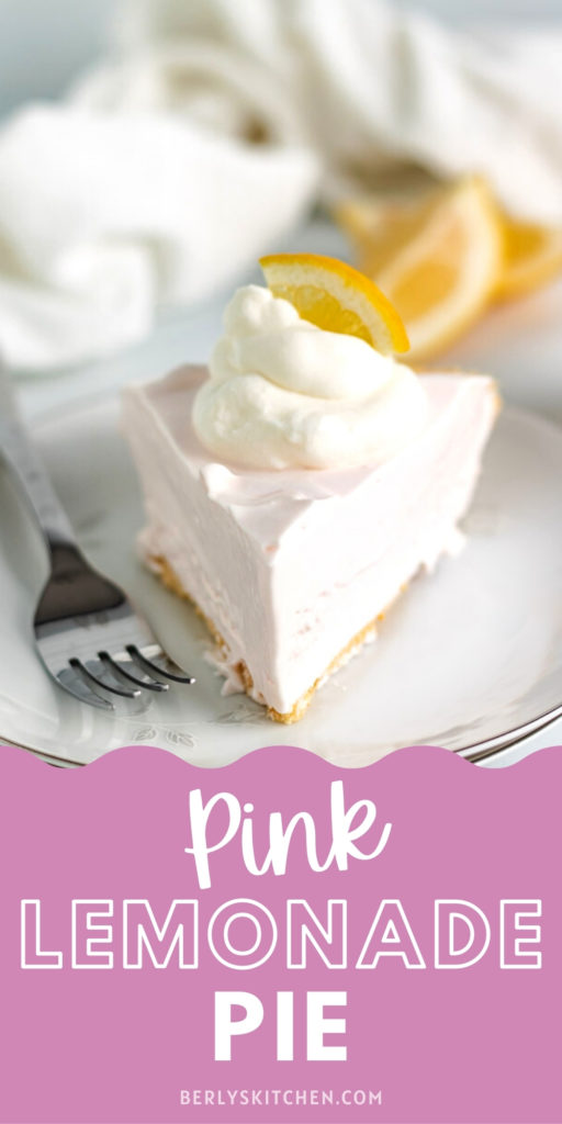 Pink lemonade pie with a fork on a plate.