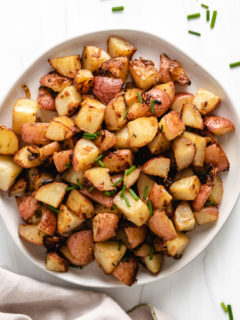 Top down view of diced red potatoes.