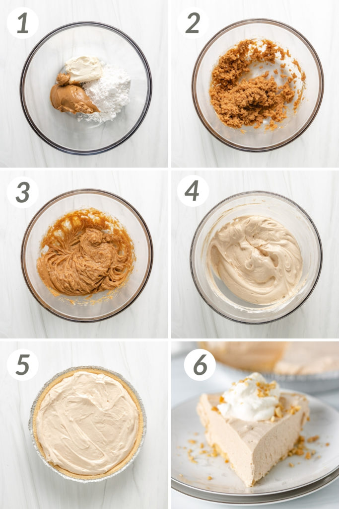 Collage showing how to make peanut butter pie.