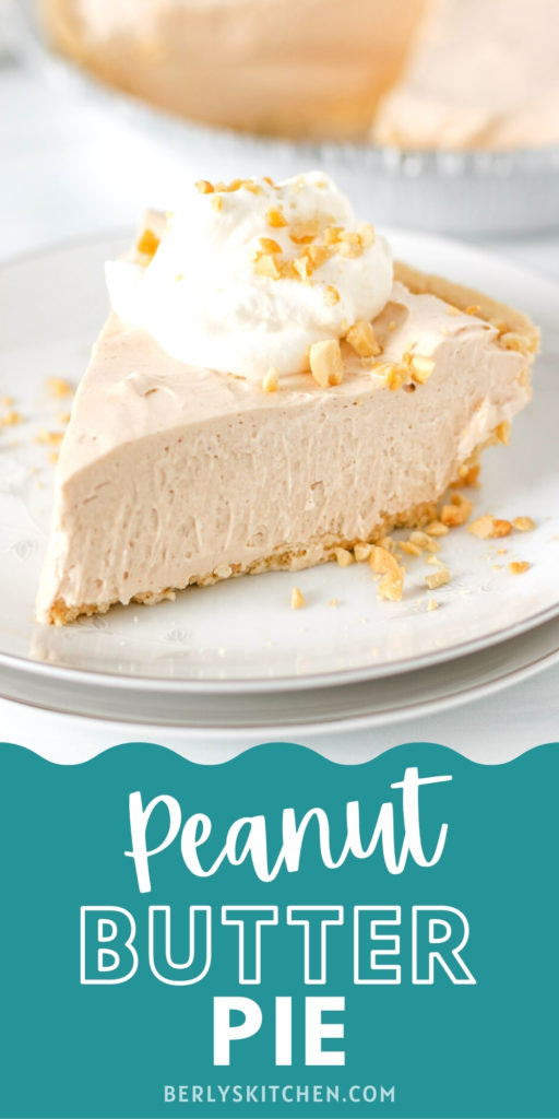 Slice of peanut butter pie with whipped cream and crushed peanuts.