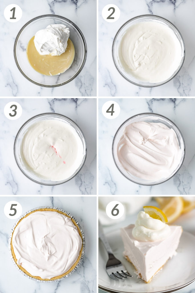 Collage showing how to make lemonade pie.