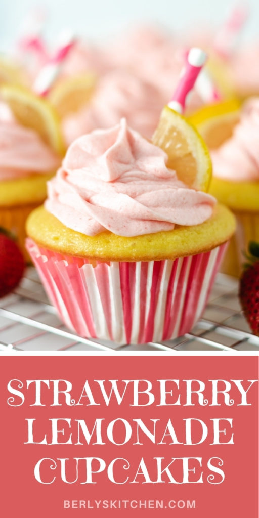 Strawberry lemonade cupcake in a pink and white liner.
