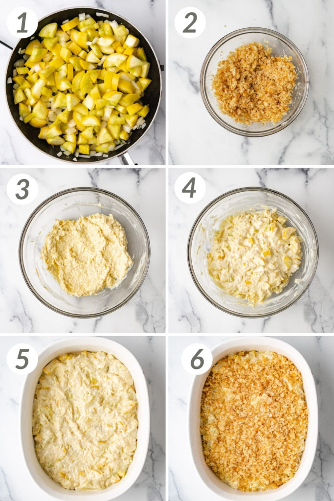 Collage showing how to make yellow squash casserole.