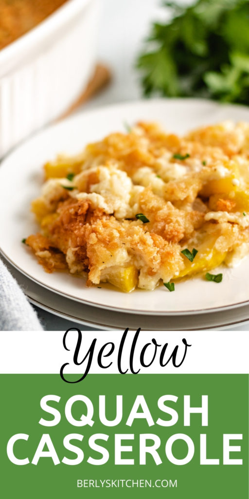 Plate of yellow squash casserole with butter cracker topping.