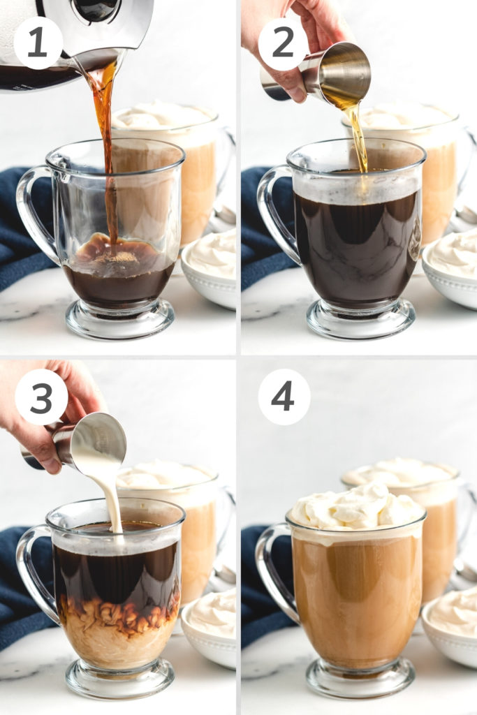 Collage showing how to make amaretto coffee.