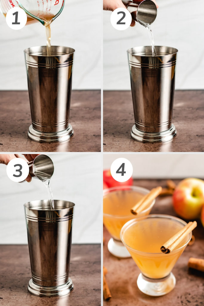 Collage showing how to make an apple cider martini.