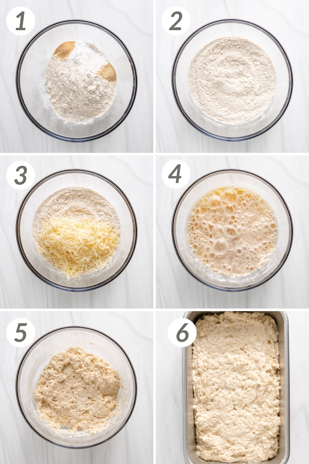 Collage showing how to make beer bread.