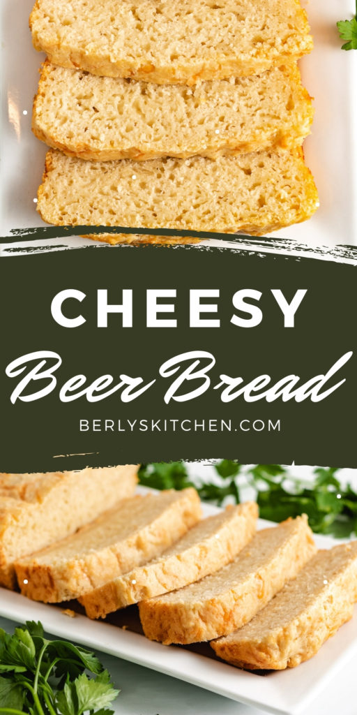 Two photos of cheesy beer bread in a collage.
