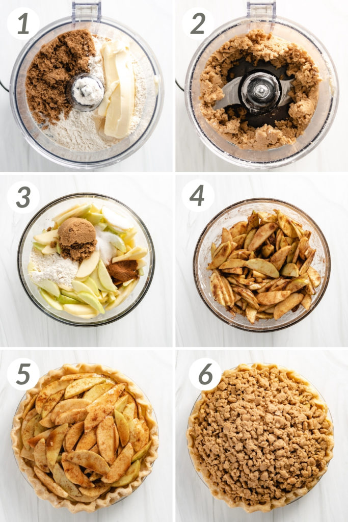 Collage showing how to make dutch apple pie.