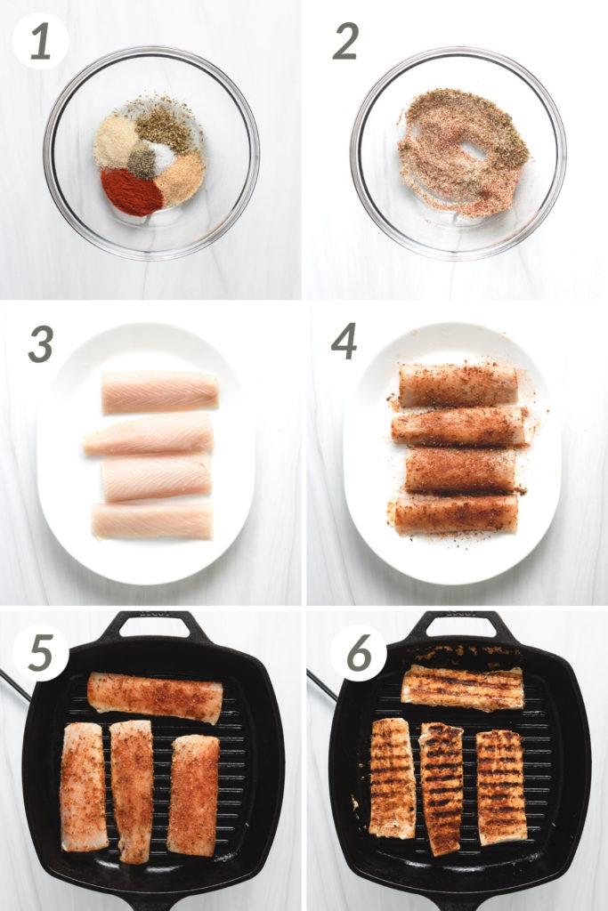Collage showing how to make grilled mahi mahi.