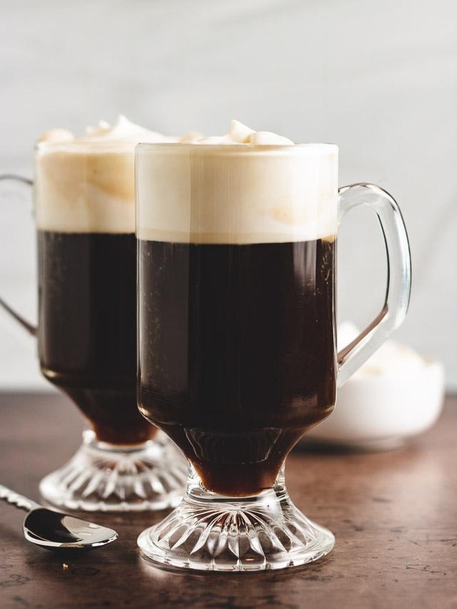 Two mugs of irish coffee.