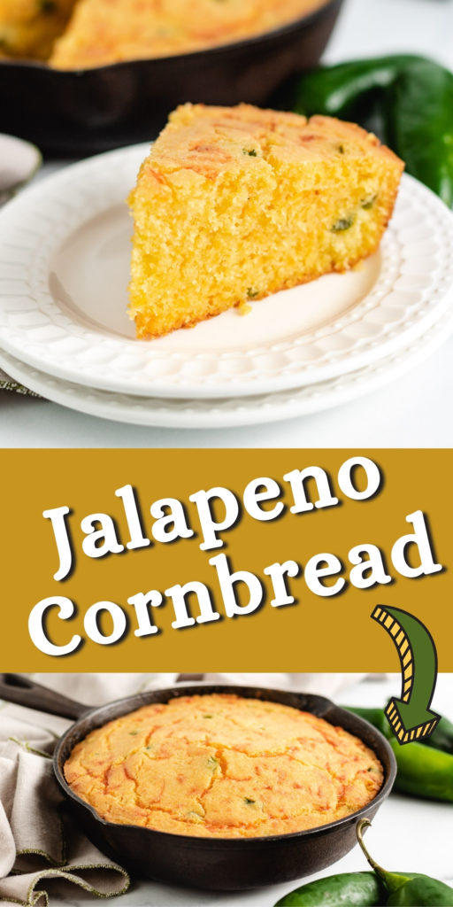 Two photos of jalapeno cornbread in a collage.