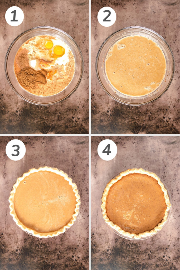 Collage showing how to make pumpkin pie.