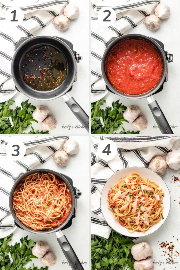 Collage showing how to make spaghetti arrabiata.