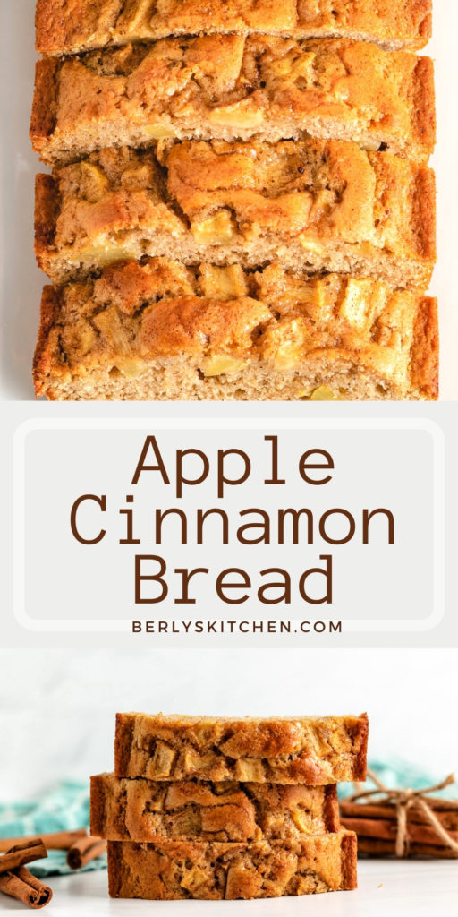 Two photos of apple cinnamon bread in a collage.