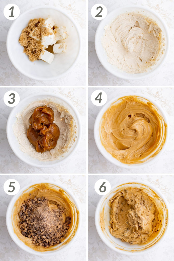 Collage showing how to make caramel apple dip.