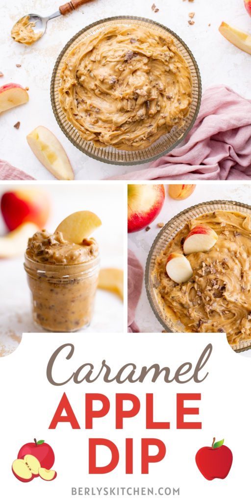 Three photos of caramel apple dip in a collage.