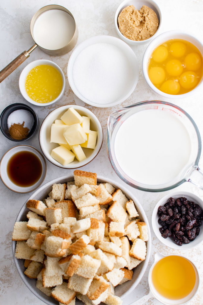 Top down view of ingredients needed for caramel bread pudding.
