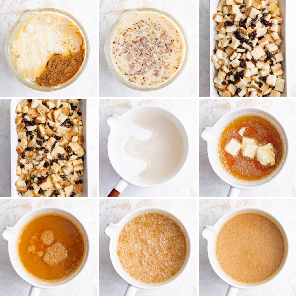 Collage showing how to make caramel bread pudding.
