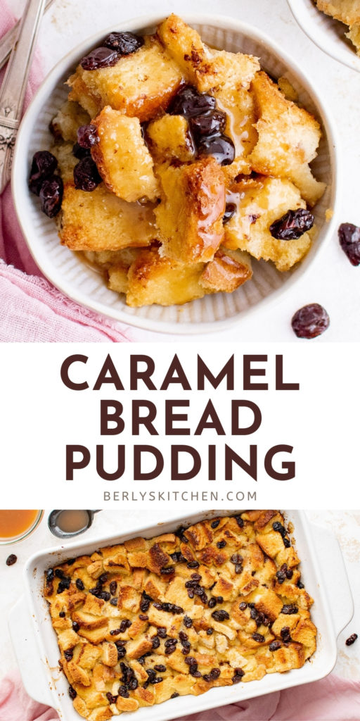 Two photos of caramel bread pudding in a collage.
