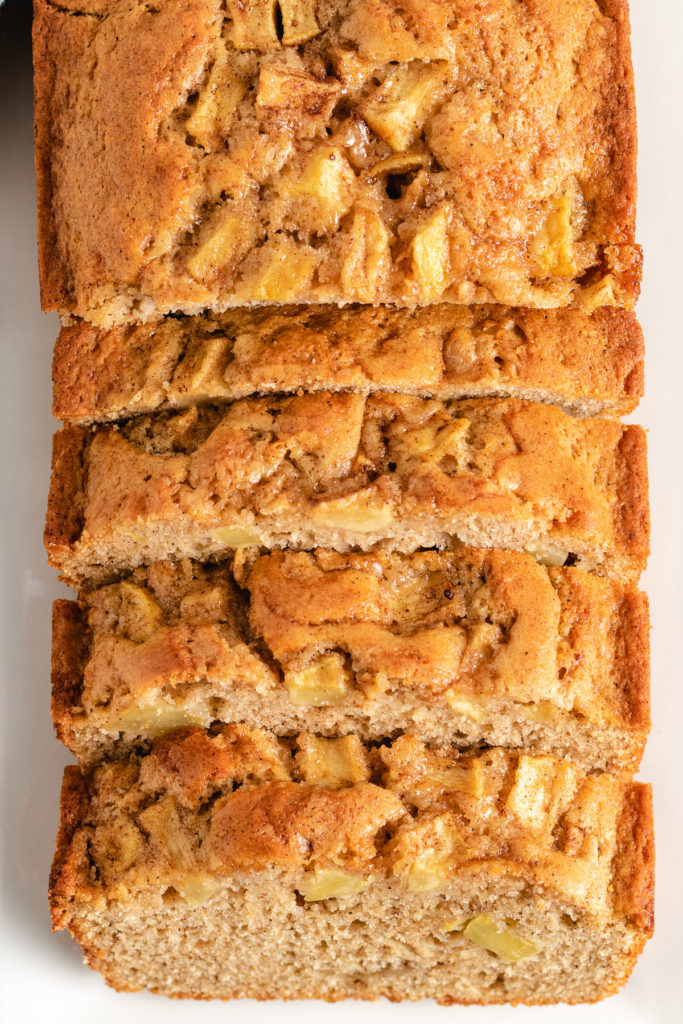 Top down view of sliced apple cinnamon bread.