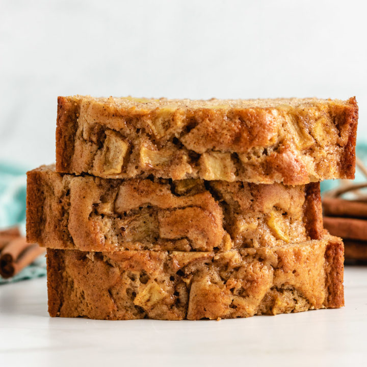 Stack of pieces of apple bread.