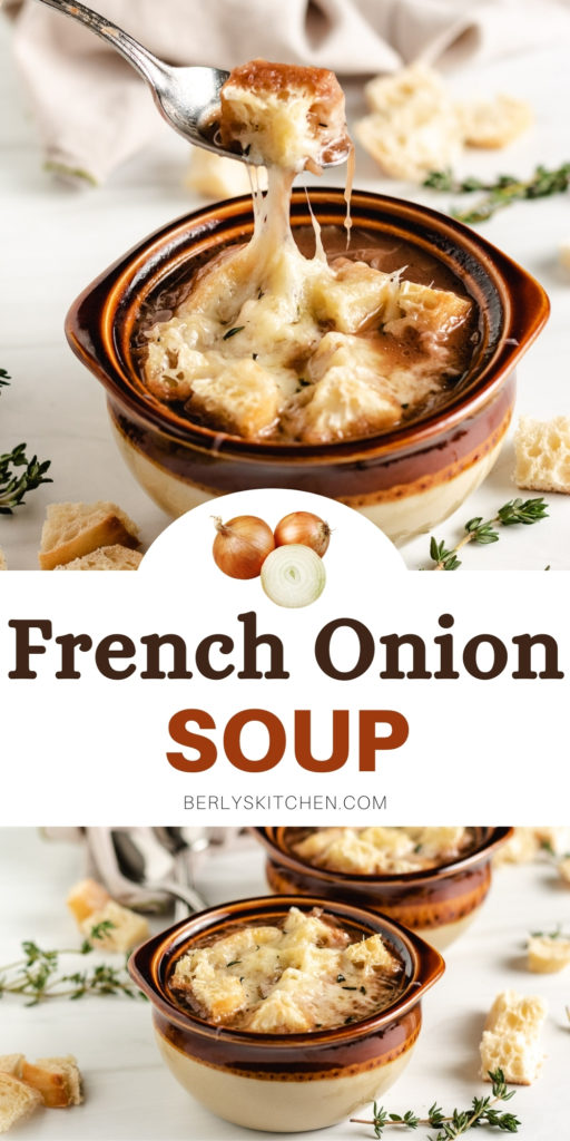 Two bowls of french onion soup in a collage.