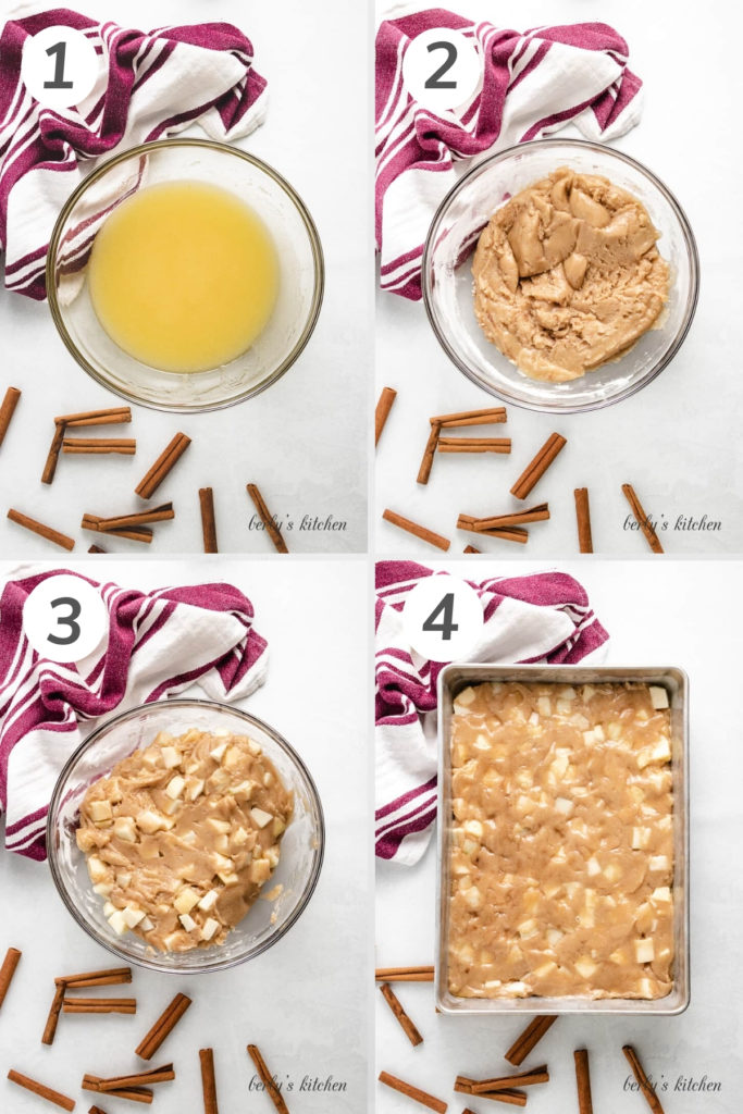 Collage showing how to make fresh apple cake.