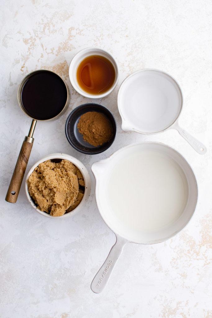 Ingredients used for iced brown sugar oat milk shaken espresso.
