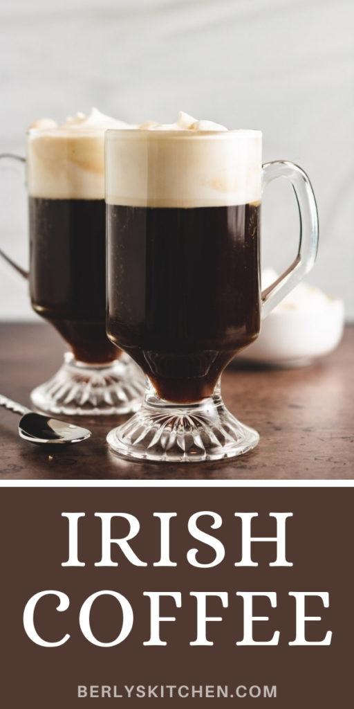 Two mugs of irish coffee with whipped cream.