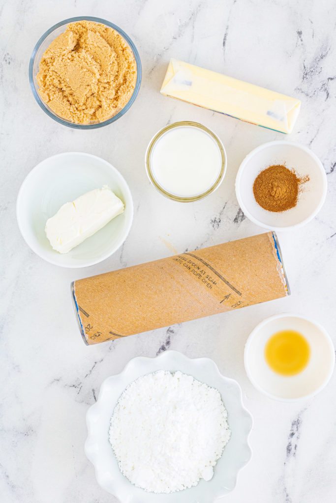 Ingredients needed for monkey bread muffins.